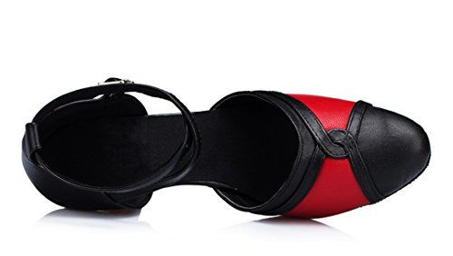 Black Toe Salsa Heel Shoes TDA Moderm Closed Leather Women's Tango Dance Latin Wrap Mid Ankle Epq6pxnO