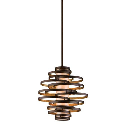 Lighting Bronze Corbett (Corbett Lighting 113-42-F Vertigo 2 Light Pendant Finish, Bronze/Gold Leaf)