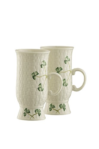 Belleek Irish Coffee Mugs Pair, Medium, White