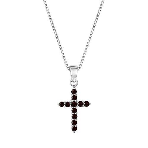 Sterling Silver 925 Round Garnet Cross Pendant Necklace, 18