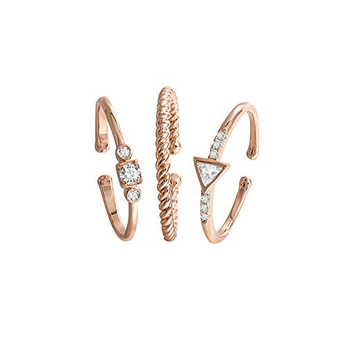 QUINBY Stacking Knuckle Rose Gold Plated Cubic Zirconia Finger Rings Bands 3pcs Set Adjustable Size Gift Packaged Bohemian Style