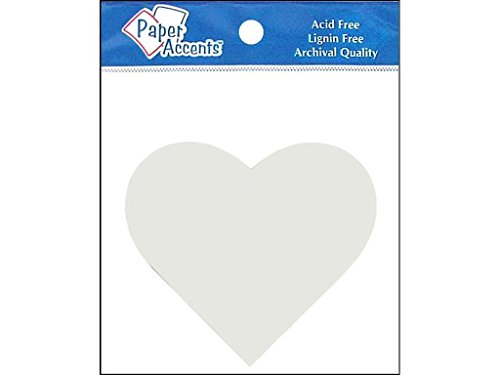 Accent Design Paper Accents ADPSHAPE.26 Shape Heart White Chipboard ()