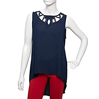 Parkhande Blue Mixed Round Neck Blouse For Women