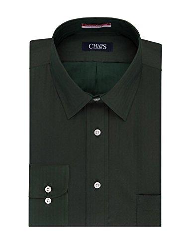 Chaps Men's Regular Fit Wrinkle Free Herringbone Twill Long Sleeve Dress Shirt (16-16.5 Neck 32/33 Sleeve, (Herringbone Long Sleeve Dress Shirt)