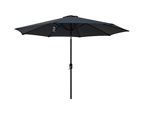 Sumbel Outdoor Living 10 FT Round Market Patio Umbrella with Push Button Tilt and Crank Lift, Grey For Sale