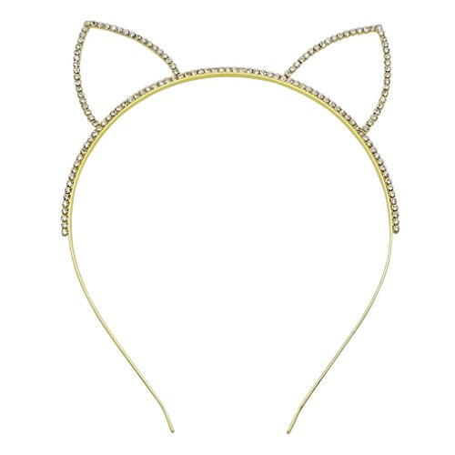 Rosemarie Collections Women's Sparkling Rhinestone Cat Ears Metal Headband (Gold Tone) - Walmart Cat Ears Costume