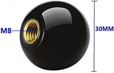 Color: Black 20pcs//Lot M8X30mm Black Ball Knob Copper Insert Machine Tool Replacement 8mm Thread 30mm Ball Diameter Bakelite Ball Knob Handle