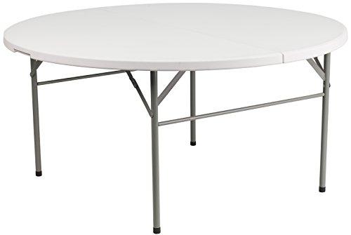Round Table Half Top Folding (Flash Furniture 60'' Round Bi-Fold Granite White Plastic Folding Table)