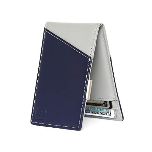 (F&H Signature Slim RFID Money Clip Wallet in Top Grain Leather (Navy/Stone))