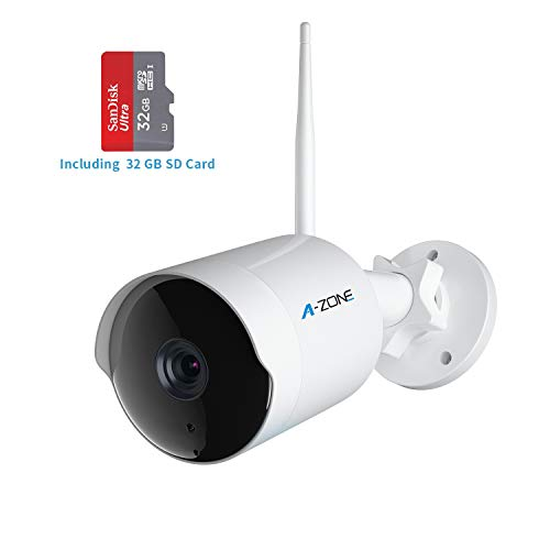 (Outdoor Security Camera - HD 1080P Bullet Camera 2.4G IP66 Waterproof 50ft Night Vision Home Surveillance IP Camera Two-Way Audio, Motion Detection Alarm/Recording, Including 32GB SD Card)