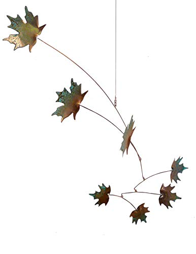 Modern Artisans Maple Leaves Spinning Copper Mobile for Indoor or Outdoor, Standard 7-Leaf Version