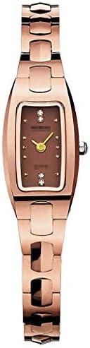 レディクォーツ時計スクエアブラッドショーウォッチフェイス、50M防水ステンレススチールバンドストラップクリスタル女性腕時計クリスマスプレゼント (色 : Rose gold brown face)