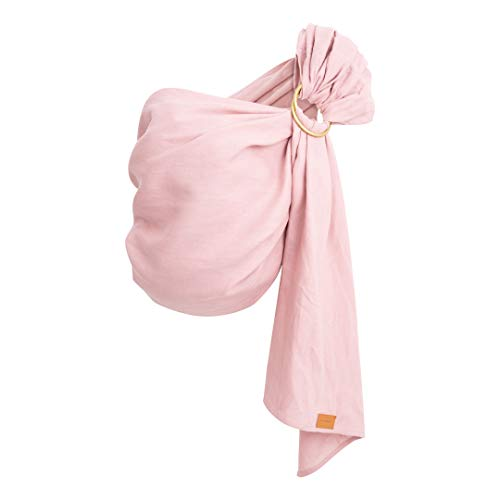 (Pure Linen Ring Sling in Blush Pink with Gold Rings by Leather Baby Co)