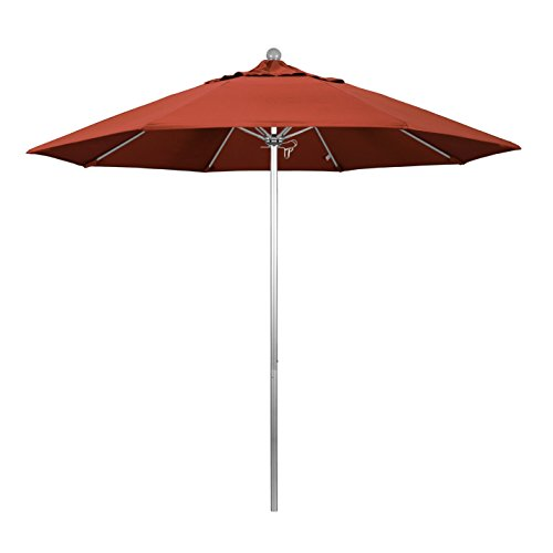 9' Silver Aluminum Pole - California Umbrella 9' Round Aluminum/Fiberglass Umbrella, Push Open, Silver Pole, Sunbrella Terracotta