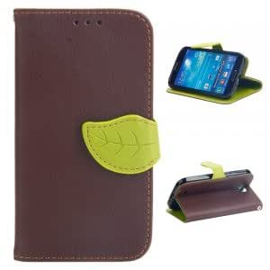 Litchi Pattern PU Leather Protective Case with Leaf-shaped Buckle for Samsung S4 i9500 Brown