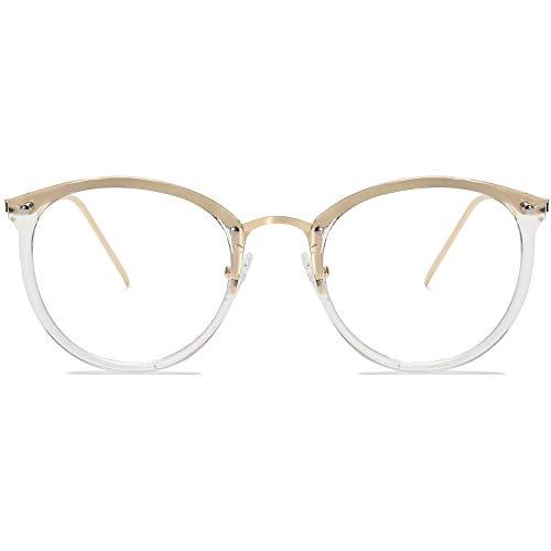 Amomoma Round Non-Prescription Eyeglasses Clear Lens Glasses Eyewear Frame A5001 with Transparent Frame/Clear Lens