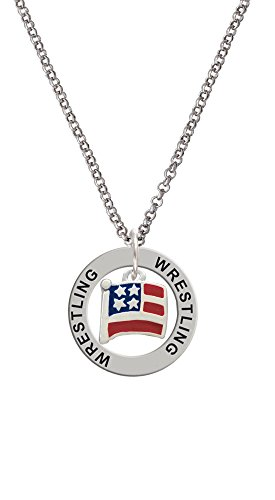 Silvertone Mini USA Flag - Wrestling Affirmation Ring Necklace, 24'' by Delight Jewelry