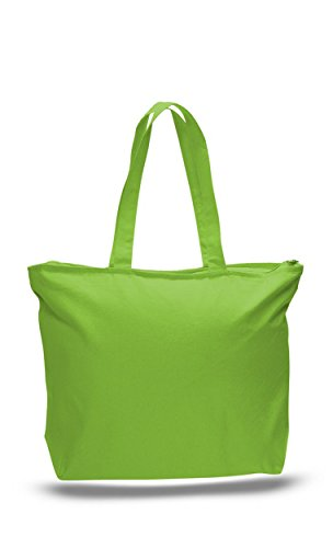 Heavy Duty - 12 PACK - Canvas Tote Bags Large Reusable Bags for Arts and Crafts | Arts & Crafts Storage Boxes & Organizers Bags Zippered Top Canvas Tote Bag with Zipper Inside Pocket (Lime) (Screen Bags Tote Printing)