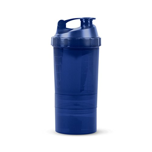 Protein / Vitamin - Shaker Mixing Bottle w/two dry Storage Compartments & Organizer - 17oz. Capacity - Blue - Spider Mixer Bottle