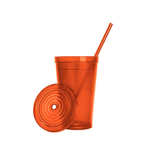 Made in the USA, 16 oz. Double Wall Insulated Plastic Tumblers with Lid and Straws, Set of 4 - Translucent Orange