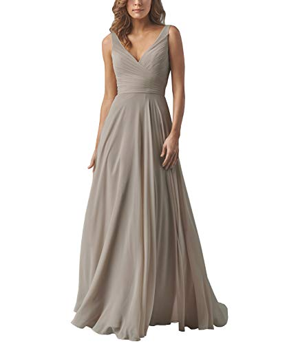 Yilis Double V Neck Draped Chiffon Long Bridesmaid Dresses A-line Wedding Party Dress Taupe US14