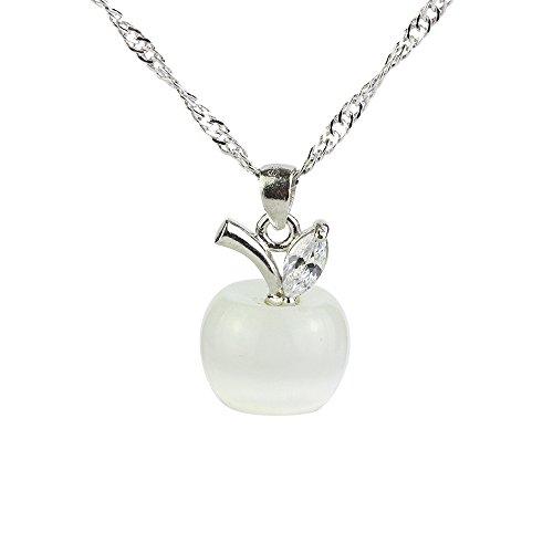 [해외]CHOP MALL 부엉이 시리즈 크리스탈 라인스톤 펜던트 키체인 선물 / CHOP MALL White Apple-shape Crystal Leaf Pendant Jewelry Chain Necklace for GirlLadyWomenMumMother`s DayMommy BirthdayAnniversary Gift