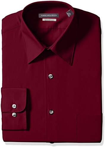 Van Heusen Men's Poplin Regular Fit Solid Point Collar Dress Shirt, Magenta, 16.5