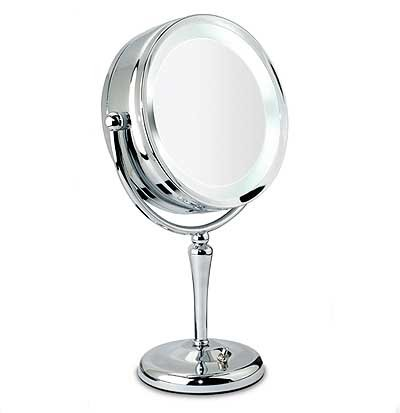 Danielle Creations Chrome Revolving Lit Mirror, 10X Magnification