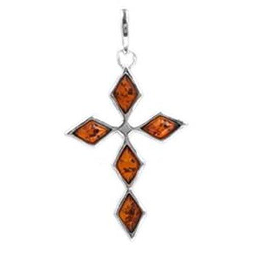 Yellow Cross Amber - Honey Amber Sterling Silver Cross Pendant