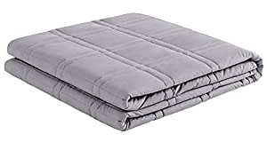 "puredown Premium Adult Weighted Blanket Heavy Blanket 100% Cotton Material with Glass Beads 7 lbs,41""x 60"" Light Grey"