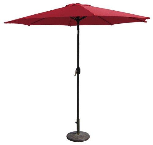 SNAIL 10 ft Outdoor Large Patio Umbrella Garden Table Hole Umbrella Sunshade with Push Button Tilt, 8 Ribs, Red (Red Patio Umbrellas)