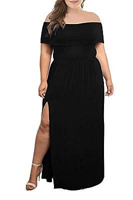 Nemidor Women's Upper Flounce Layer Off Shoulder Plus Size Slit Maxi Dress