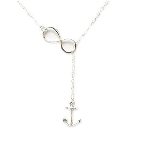Anchor and Infinity Necklace, Infinity Lariat Necklace, Anchor Necklace, Sterling Silver, Spring, Bridal , Weddings, Nautical