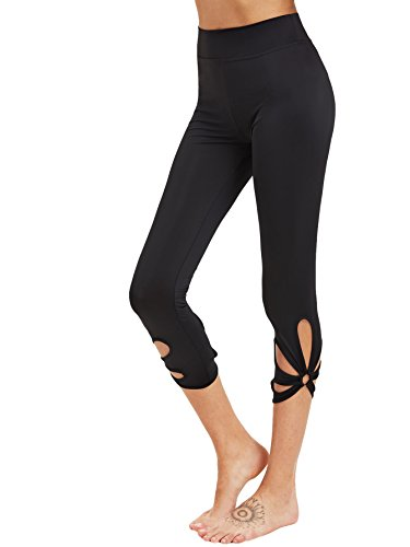SweatyRocks Women's High Waisted Cutout Crop Leggings Yoga Workout Active Tights Black M (Out Cut Out)
