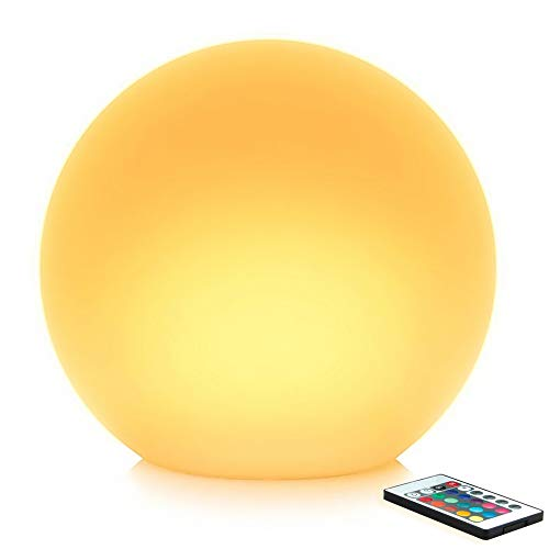 Mr.Go 14-inch Multi-Function Color Changing LED Ball Light Orb in White, Sturdy Waterproof Rechargeable, Wireless w/Remote Control Beautiful Light Effect, Subtle Ambient Lighting Relaxing Mood Lamp