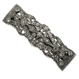 Silver-Tone Antiqued Crystal Barrette Box