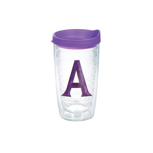 Mongram Letter - Tervis 1128209 INITIAL-A Purple Sequins Initial Tumbler with Emblem and Purple Lid 16oz, Clear