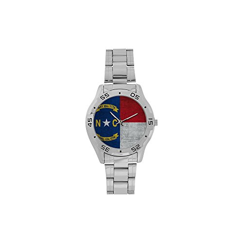 Novelty Gift North Carolina Flag American US State Men's Stainless Steel Analog Watch]()