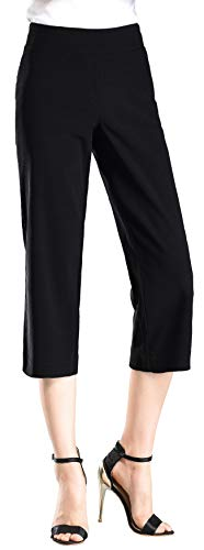 Foucome Dress Pants for Women-Slim Bootcut Stretch High Waist Capris with All Day Comfort Pull On Style - Capris Black Dress