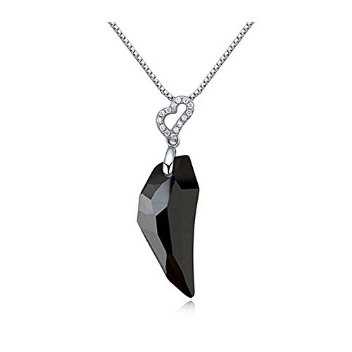 RareLove Black Crystal wolf's fang Embed Dangle Pendant Necklace for Women -
