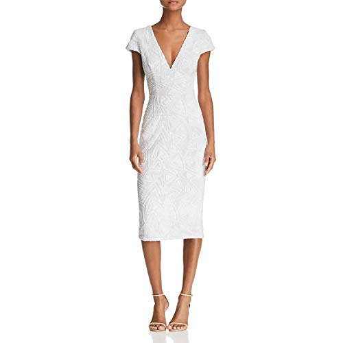 Dress the Population Women's Allison Plunging Sequin Fitted Midi Cap Sleeve Sheath Dress, White, M ()