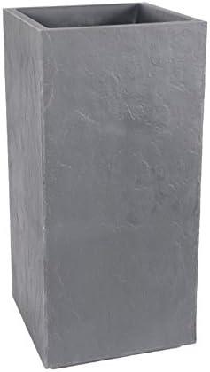 Contenance 31L EDA Pot haut carr/é Volcania 39cm Galet