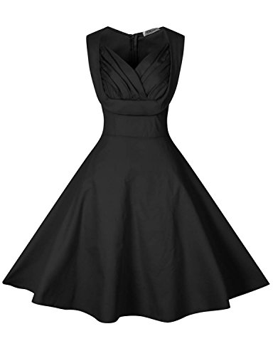[black cocktail dress Vintage Cut Out Polka Flower Pattern 50's Bridesmaid Cocktail 2XL] (Plus Size Evening Wear)