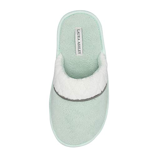 - Laura Ashley Ladies Lu Terry Scuff Slipper with Stitched Collar Lime Large