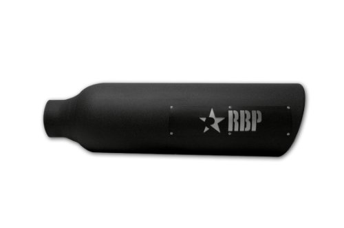 """RBP 48284-7 Black 4"""" - 8"""" x 28"""" Long Stainless Steel Magnum Heat Treated Coating Exhaust Tip with and Laser Cut Two - Tone Logo"""