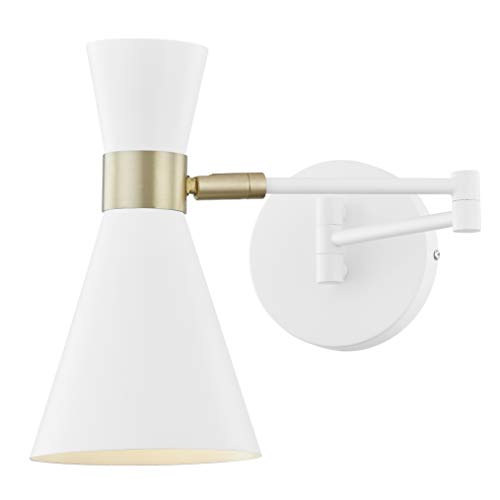 Light Society Beaker Wall Sconce in Matte White with Swivel Arm and Brass Details, Modern Mid-Century Retro Style Lighting (LS-W305-WH)