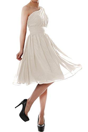 Chiffon Short Cocktail Shoulder Elfenbein MACloth Bridesmaid One Gown Party Dress Women O4awxn1qP