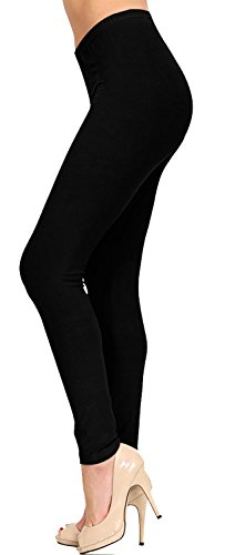 VIV Collection Regular Size Full Length Solid Brushed Leggings (Black) from VIV Collection