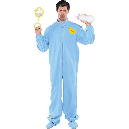 AMSCAN Blue Footie Pajamas Halloween Costume for Adults,
