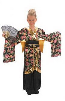 Girl Costume Geisha Black (Large Girls Geisha Girl)